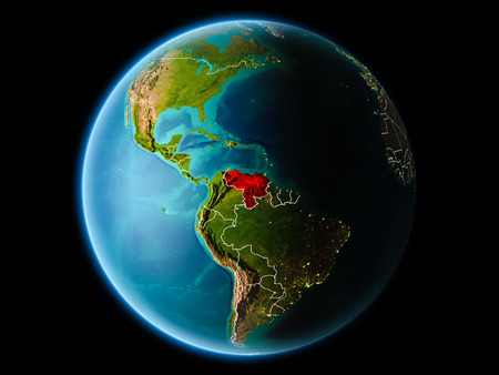 Venezuela from orbit of planet Earth at night with highly detailed surface textures with visible border lines and city lights. 3D illustration.