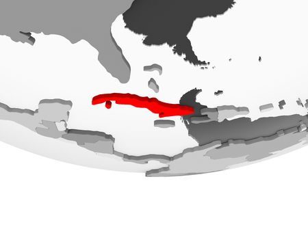 Cuba in red on grey political globe with transparent oceans. 3D illustration.