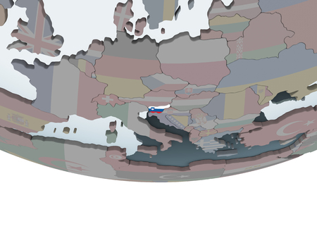 Slovenia on political globe with embedded flag. 3D illustration. Stock Photo