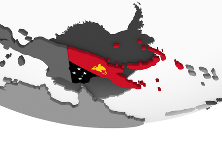Papua New Guinea on gray political globe with embedded flag. 3D illustration.