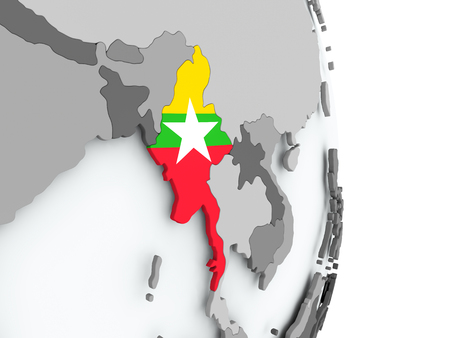 Myanmar on political globe with embedded flag. 3D illustration.