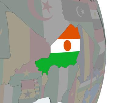Niger on political globe with embedded flag. 3D illustration.