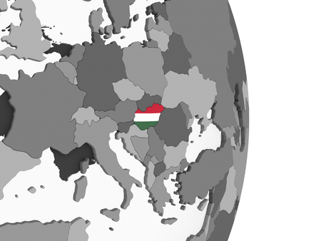 Hungary on gray political globe with embedded flag. 3D illustration.
