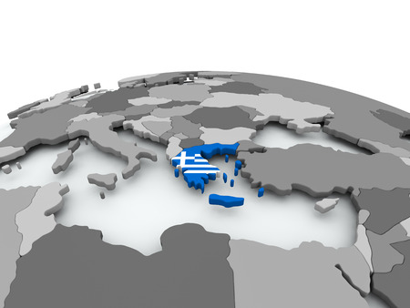 Greece on grey political globe with embedded flag. 3D illustration.