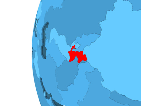 3D render of Tajikistan in red on blue political globe with transparent oceans. 3D illustration.