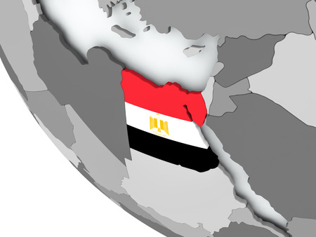 Egypt on political globe with embedded flags. 3D illustration.