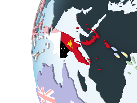 Papua New Guinea on bright political globe with embedded flag. 3D illustration. Stock Photo