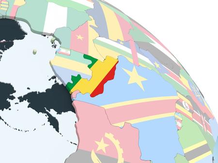 Congo on bright political globe with embedded flag. 3D illustration. Standard-Bild - 109088230