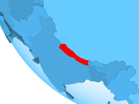 Nepal highlighted in red on blue political globe with transparent oceans. 3D illustration.