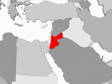 Jordan in red on grey political map with transparent oceans. 3D illustration.