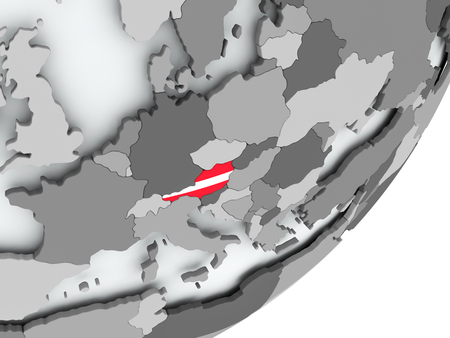 Austria on political globe with flag. 3D illustration. Standard-Bild - 109089387