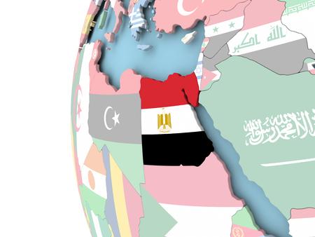 Egypt on political globe with flag. 3D illustration. Stock Photo