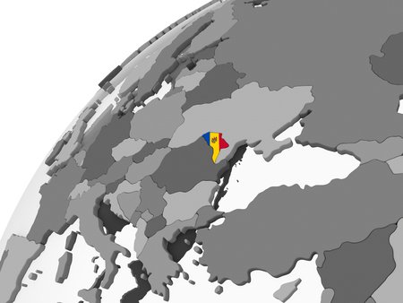 Moldova on gray political globe with embedded flag. 3D illustration. Stock Photo
