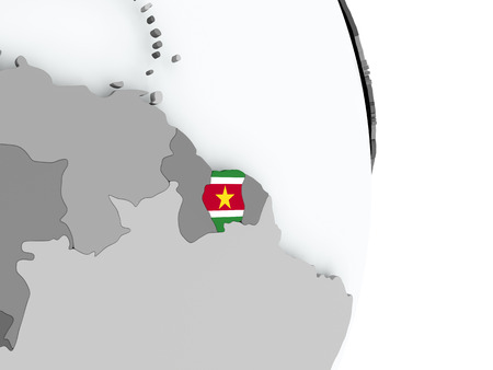 Suriname on political globe with embedded flag. 3D illustration.