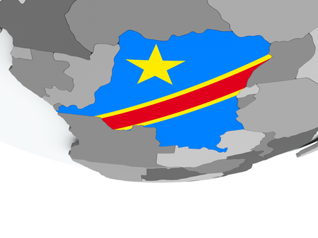 3D render of Democratic Republic of Congo with flag on grey globe. 3D illustration.