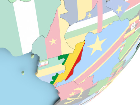 Illustration of Congo on political globe with embedded flag. 3D illustration. Standard-Bild - 109018985