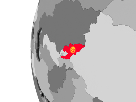 Illustration of Kyrgyzstan on political globe with embedded flag. 3D illustration. Stock Photo
