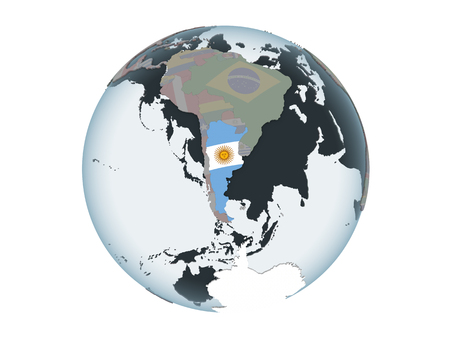 Argentina on political globe with embedded flag. 3D illustration isolated on white background. Foto de archivo