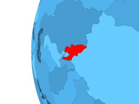 3D render of Kyrgyzstan in red on blue political globe with transparent oceans. 3D illustration. Stock Photo