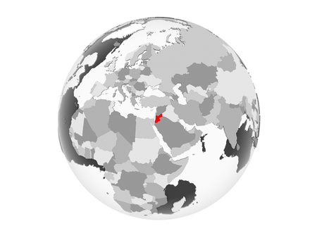 Jordan highlighted in red on grey political globe with transparent oceans. 3D illustration isolated on white background. Stockfoto