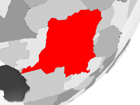 Illustration of Democratic Republic of Congo highlighted in red on grey globe with transparent oceans. 3D illustration. Standard-Bild - 109017088