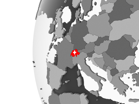 Switzerland on gray political globe with embedded flag. 3D illustration. Banque d'images - 109017191