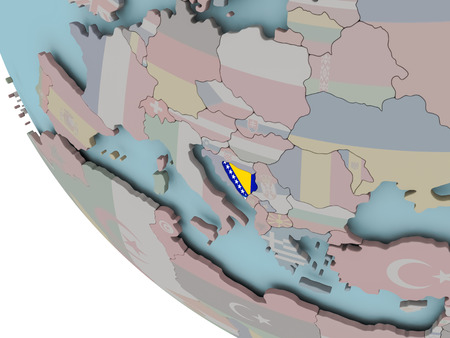 Map of Bosnia on political globe with embedded flags. 3D illustration.