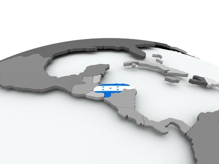 Honduras on grey political globe with embedded flag. 3D illustration.