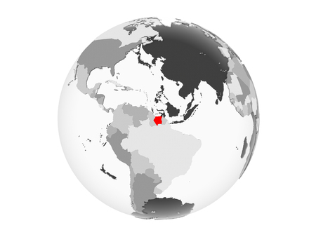 Suriname highlighted in red on grey political globe with transparent oceans. 3D illustration isolated on white background. Stockfoto