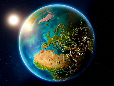 Sunset above Slovenia highlighted in red on planet Earth with visible country borders. 3D illustration.