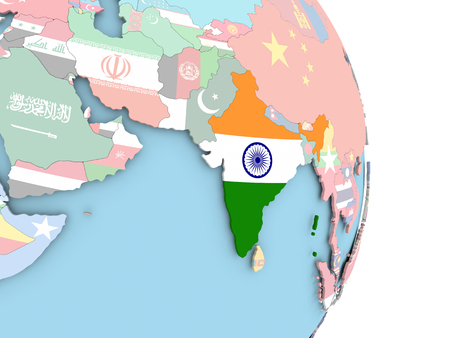 India with embedded flag on globe. 3D illustration. Stock Photo