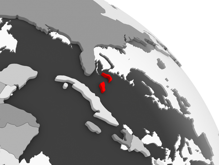 3D render of Bahamas in red on grey political globe with transparent oceans. 3D illustration.