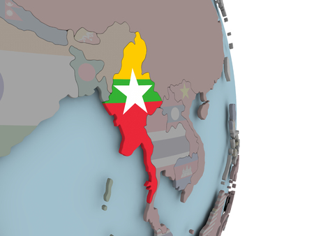 Myanmar with embedded national flag on political globe. 3D illustration. Imagens