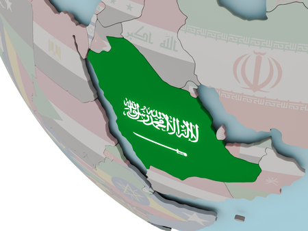 Map of Saudi Arabia on political globe with embedded flags. 3D illustration.