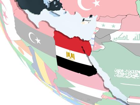 Egypt on bright political globe with embedded flag. 3D illustration.