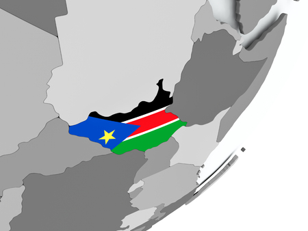 South Sudan on political globe with flag. 3D illustration. 스톡 콘텐츠