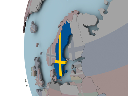 Sweden with embedded flag on political globe. 3D illustration. Stockfoto