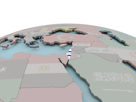 Israel with national flag on political globe. 3D illustration. Stock Photo
