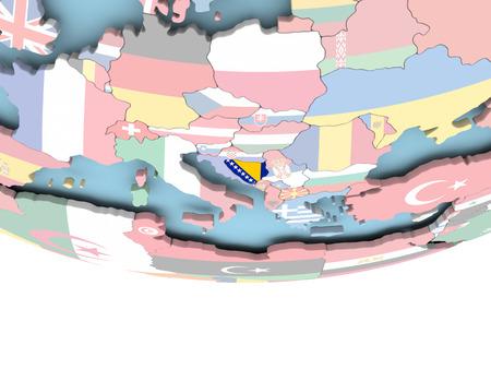 Bosnia on globe with flag. 3D illustration. Stock Photo