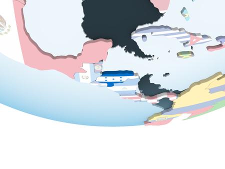 Honduras on bright political globe with embedded flag. 3D illustration. Stock Photo