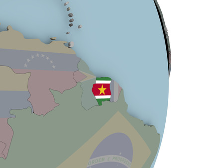 Suriname with embedded national flag on political globe. 3D illustration.