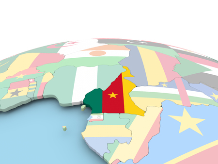 Cameroon on political globe with embedded flags. 3D illustration.