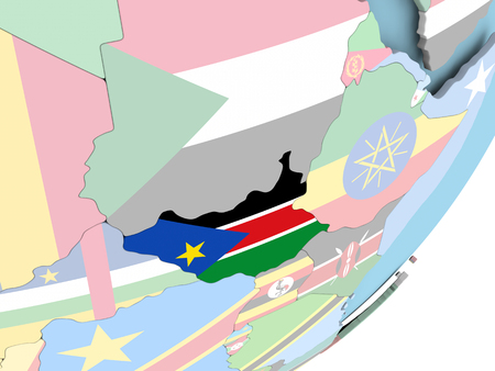 Illustration of South Sudan on political globe with embedded flag. 3D illustration. 스톡 콘텐츠 - 110014859