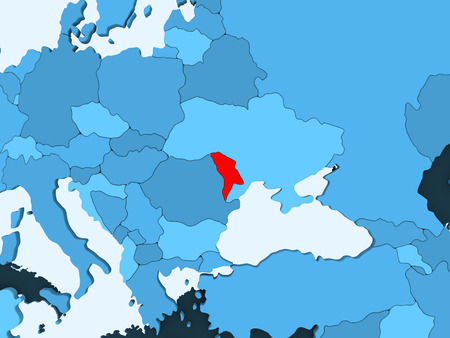 Moldova in red on blue political map with transparent oceans. 3D illustration. Stock Photo