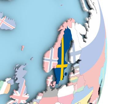 Sweden with embedded flag on globe. 3D illustration.