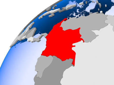 Colombia on simple political globe with visible country borders and transparent oceans. 3D illustration.