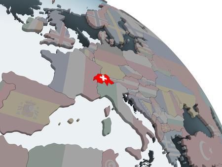 Switzerland on political globe with embedded flag. 3D illustration. Banque d'images - 109642489