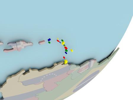 3D render of Caribbean on political globe with embedded flag. 3D illustration.