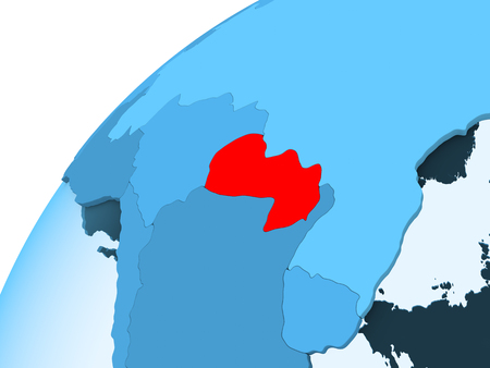 Paraguay in red on blue model of political globe with transparent oceans. 3D illustration.