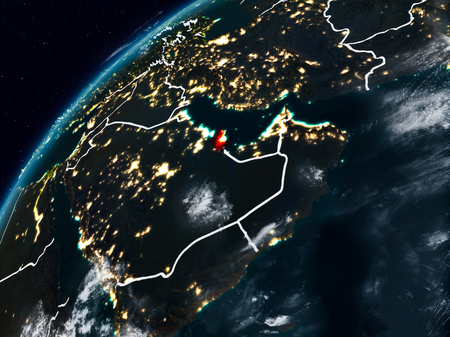 Qatar on planet Earth at night with visible country borders. 3D illustration.